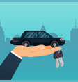 car seller hand holding key to buyer selling vector image