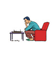 a man plays chess alone vector image vector image