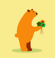 adorable bear in floral technique beautiful card vector image