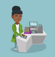 african woman paying wireless with a smart watch vector image vector image