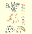 Animal set tribal vector image