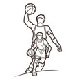 basketball player action sport graphic vector image