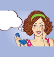 beautiful red-haired lady speaks to a retro phone vector image vector image