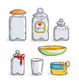 big set of handdrawn glass jars vector image