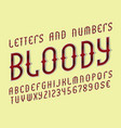 Bloody red alphabet with numbers and currency