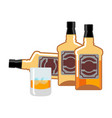 bottle and glass of whiskey and ice flacon scotch vector image vector image