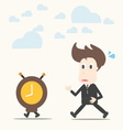 Business man follow the clock vector image vector image