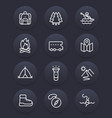 camping outdoor adventure line icons set vector image