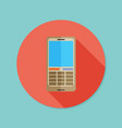 cell phone flat icon with long shadow eps10 vector image