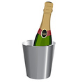 Champagne in ice bucket vector image vector image