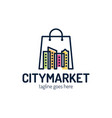 city shop logo designs template city market logo vector image