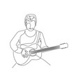 continuous one line man with a guitar sitting vector image vector image