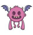 creepy purple flying cartoon bat monster vector image