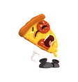 crying slice of pizza funny cartoon fast food vector image