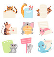 cute animals holding empty banners set funny vector image