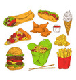 fast food appetizer collection isolated on white vector image vector image
