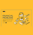 financial problems poorness landing page banner vector image