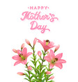 floral greeting card for mothers day with lilies vector image vector image
