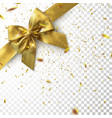 golden bow and ribbon with sparkling confetti vector image vector image