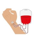 hand and blood bag donation vector image
