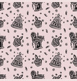happy birthday hand drawn pattern background vector image vector image