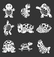 happy turtle icons set grey vector image