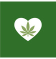 heart symbol with cannabis leaf inside marijuana vector image vector image