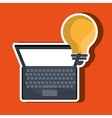 laptop computer with bulb isolated icon design vector image vector image