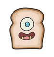 monster smiling slice bread cartoon vector image vector image