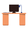 office desk with computer isolated icon vector image vector image