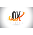 ox o x letter logo with fire flames design and vector image vector image