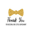phrase thank you decorated gold bow tie vector image vector image