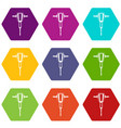 pneumatic plugger hammer icon set color hexahedron vector image vector image