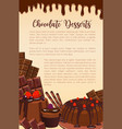 poster of chocolate desserts bakery vector image vector image