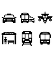 road icons with transport silhouette vector image vector image