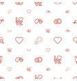 romance icons pattern seamless white background vector image vector image
