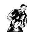 rugby player passing the ball vector image vector image