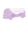 silhouette retro hippie bus transportation with vector image vector image