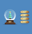 snow globe with a a christmas tree inside vector image