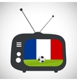 Soccer football retro television with france flag vector image vector image