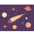 space of cosmic planets a meteorite vector image
