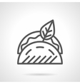 Tacos with leaf black line icon vector image
