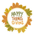 thanksgiving day logo with autumn leaves autumn vector image vector image