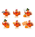 thanksgiving turkey set six poses vector image vector image