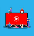 video concept people using mobile gadgets vector image vector image