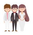 wedding bride and grooms cartoon characters vector image vector image