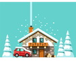 Winter holidays Vacation house in forest vector image