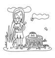 woman feeding dog black and white vector image
