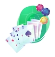 Texas holdem poker game cards and chips over vector image