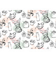 coffee icons or emblem in seamless pattern for vector image